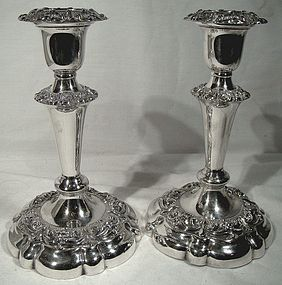 "ELLIS-BARKER SP 7"" CANDLESTICKS w/ BOBECHES c1910"