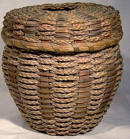 Northeast SWEETGRASS & SPLINT THREAD BASKET c1900-30