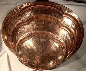 Set of 3 HAND HAMMERED REPOUSSE COPPER TRAYS c1900