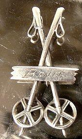 BANFF SKI POLES STERLING SOUVENIR PIN c1920s-30s