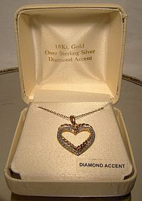 GILT STERLING HEART PENDANT NECKLACE w/DIAMOND