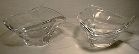 Pair Signed DAUM French Crystal MINT or CANDY DISHES