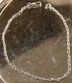 STERLING RHODIUM PLATED WATCH CHAIN c1950s-60s