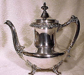 Footed REED & BARTON SILVER PLATED COFFEE POT c1897