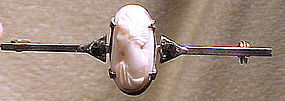 Edwardian Pink CORAL CAMEO STERLING MARCASITE PIN c1900