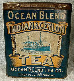 Unusual BLUE OCEAN BLEND TEA TIN c1900