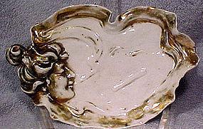 Art Nouveau SMOKING LADY PORCELAIN DISH c1900